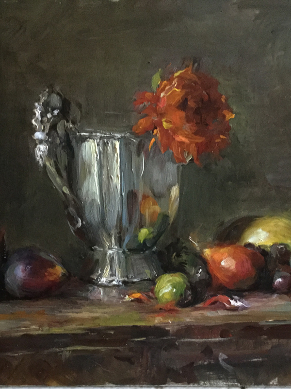 still life oil painting by Erin O'Toole silver 9 x 12