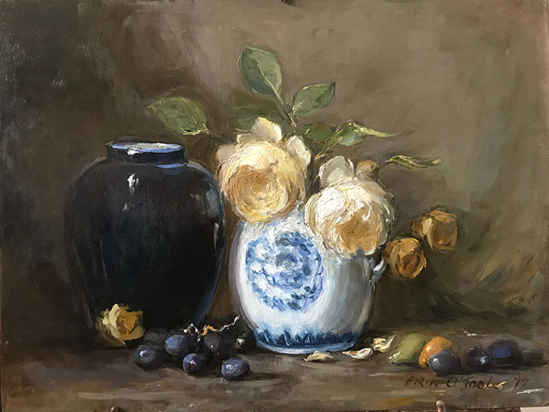 Yellow roses and blue pots by Erin O'Toole