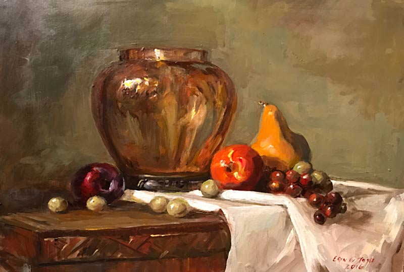 Still life of pears and amber vase by Erin O'Toole.