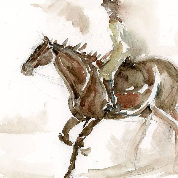 Horse and rider watercolor by Erin O'Toole.