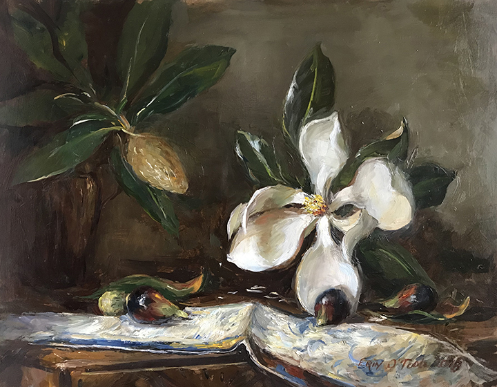 magnolia and fig painting by Erin O'Toole