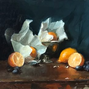 Oil painting of wrapped lemons